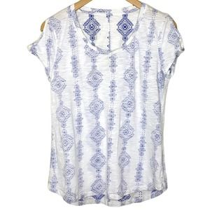 Maurices Short Sleeve Blue Graphic Print T-Shirt M